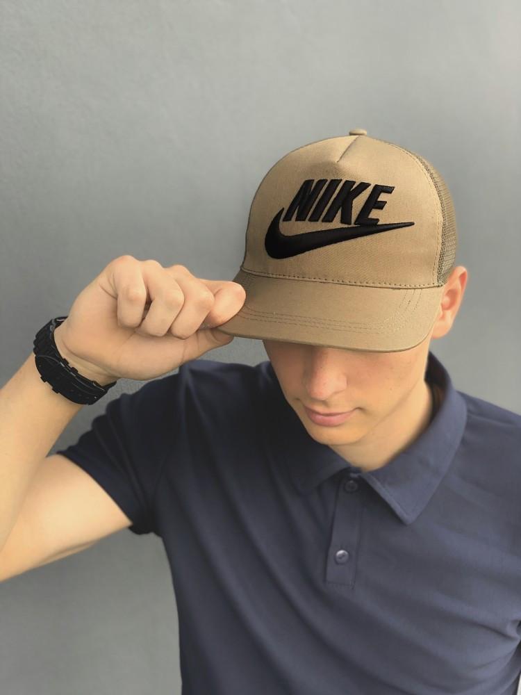 Тракер кепка Nike хаки Большой логотип