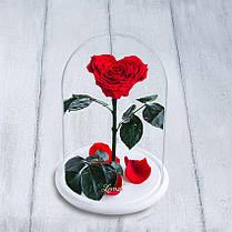Стабилизированная роза в колбе Lerosh - Lux 33 см,  Сердце Красный (Б) - ORIGINAL LEROSH
