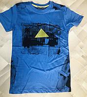 """Подростковая футболка для мальчика """"Треугольник"""" размер 9-15лет, синего цвета"""