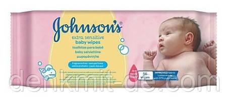 Влажные салфетки, 56 шт. Johnson's  Baby Extra Sensitive