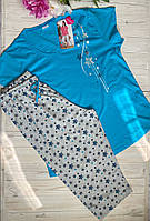 Пижама женская Комплект футболка с бриджами для дома и сна (батал) хлопок Х/Б Vienetta (Турция)