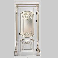 Межкомнатная дверь Casa Verdi Barocco 1 из массива ясеня белая c золотой патиной глухая