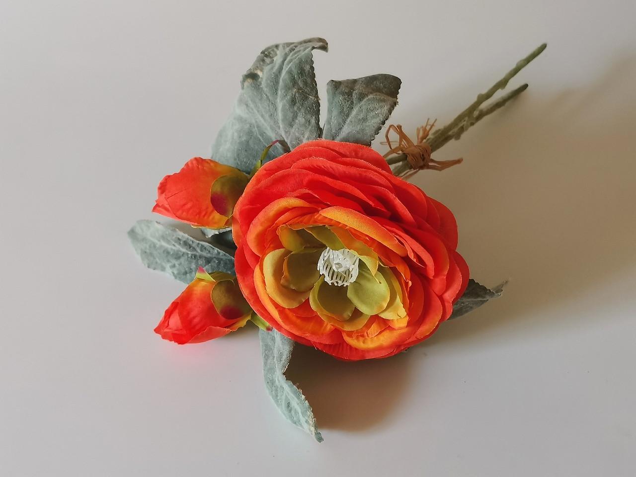 Искусственные цветы. Букет ранункулюс с бутоном.