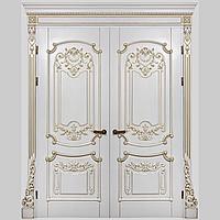 Межкомнатная дверь Casa Verdi Barocco 4 из массива ясеня белая c золотой патиной глухая