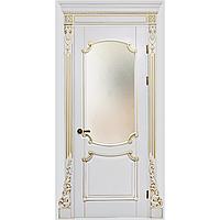 Межкомнатная дверь Casa Verdi Barocco 2 из массива ольхи белая c золотой патиной глухая