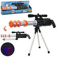 Ружье для мальчиков размер 62 см, на треноге, свет, звук, работает на батарейке, в коробке.