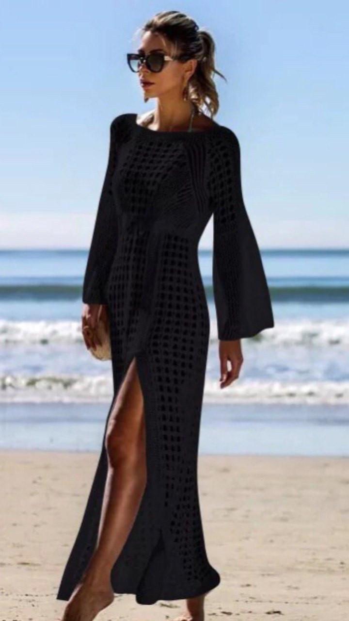 Пляжне плаття довге з рукавами чорне х/б