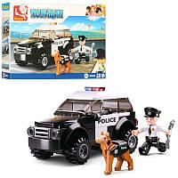 Конструктор SLUBAN M38-B0639 (72шт) полиция, машина, фигурка, собака, 78дет,в кор-ке, 19-14-4,5см