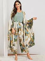 Комплект для сна, дома из 4 предметов. Пижама женская из вискозы с цветочный принтом , реплика Oysho размер XL, фото 1