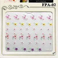 Наклейки для Ногтей Самоклеющиеся 3D Nail Sticrer FPA-02 Разноцветные Цветы, Материалы для Дизайна Ногтей
