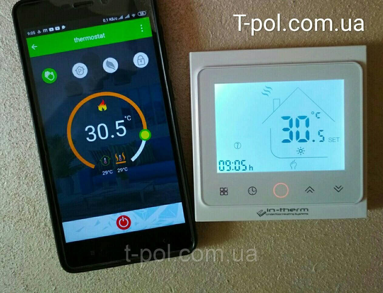 Терморегулятор pwt-002 c wi-fi управлением для теплого пола и для настенных обогревателей
