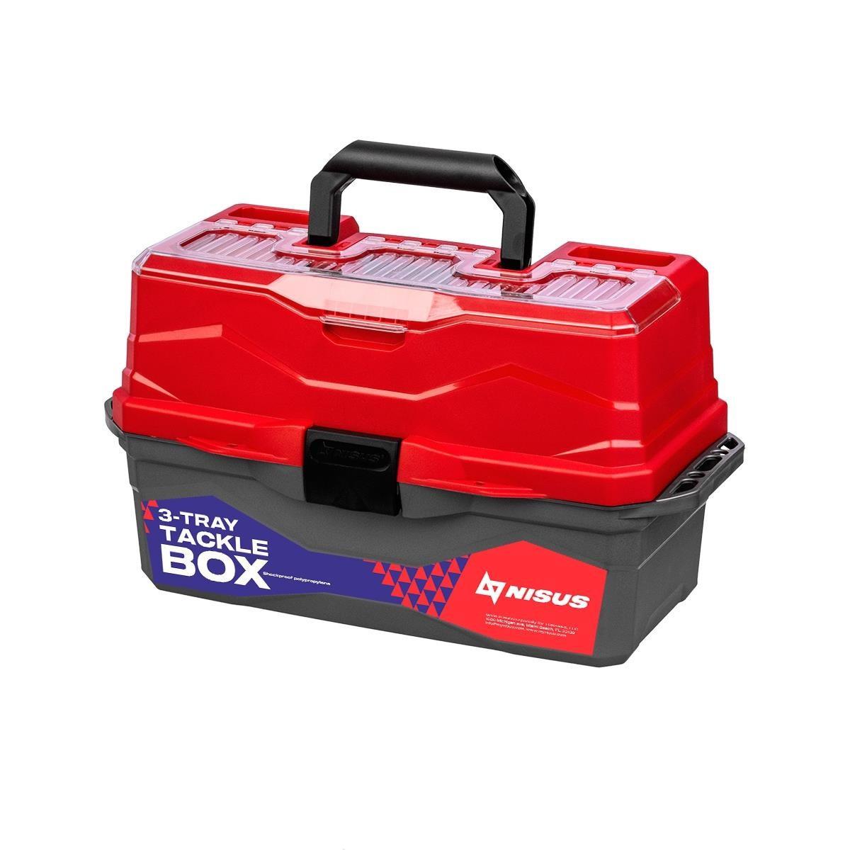 Ящик для снастей NISUS красный 3 полки