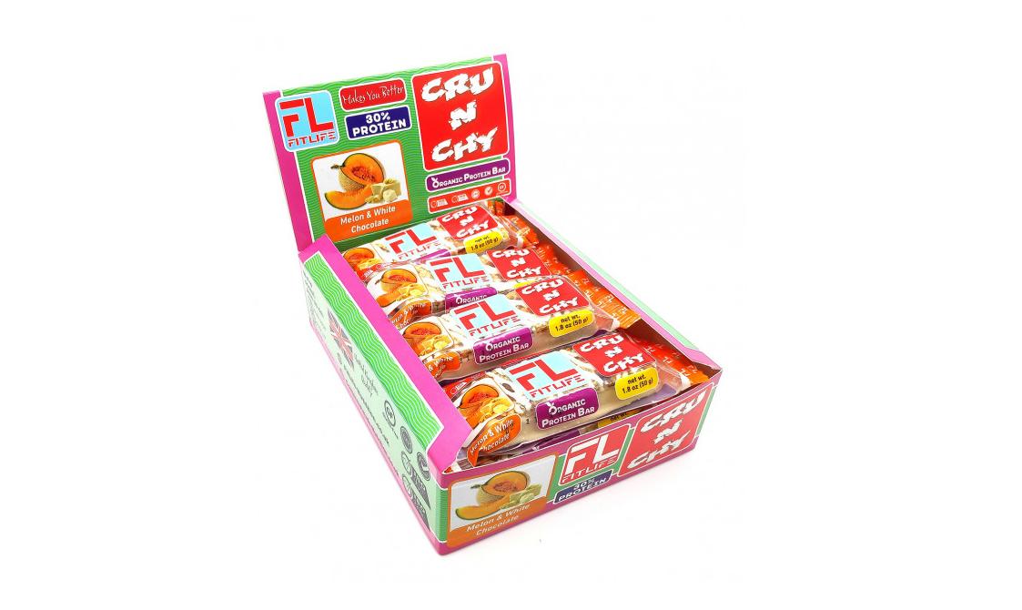 Протеїнові батончики FitLife Crunchy Bar Melon & White Chocolate 12х50д