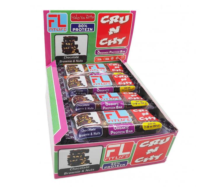 Протеиновые батончики FitLife Crunchy Bar Chocolate Brownie 12х50g