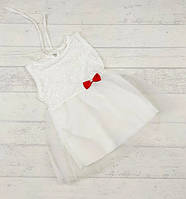 Дитяче плаття біле з червоним  бантом 12,18,24 місяців