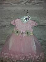 Плаття розове 3 квіточки 92-98, 98-104см.Туреччина