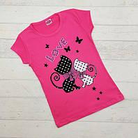 Футболка для дівчинки  розова з котами (чорні і білі) вік1-2,3-4,5-6,7-8