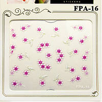 Наклейки для Ногтей Самоклеющиеся 3D Nail Sticrer FPA-16 Белые с Розовым Цветы Материалы для Дизайна Ногтей