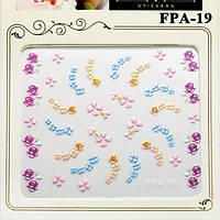 Наклейки для Ногтей Самоклеющиеся 3D FPA-19 Разноцветные Гирлянды Цветов Материалы для Дизайна Ногтей