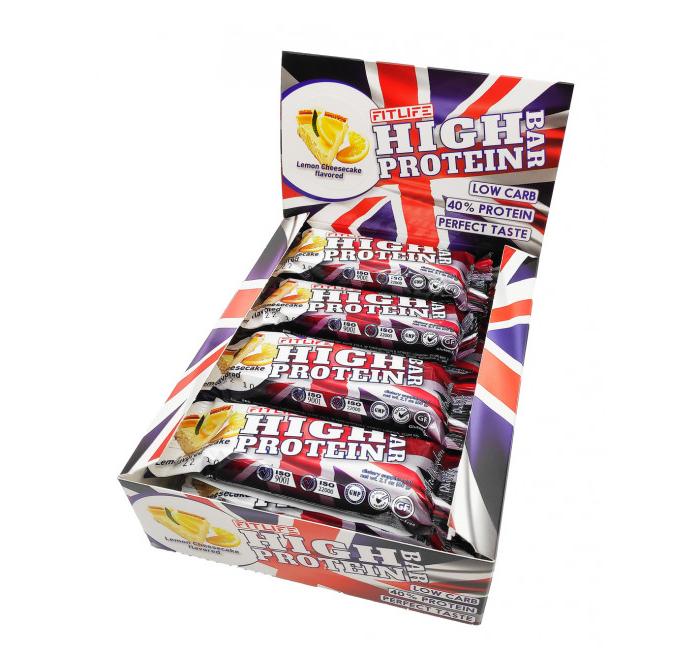 Протеїнові батончики FitLife High Protein Bar Lemon Cheesecake 12х60д