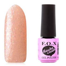 Гель-лак F. O. X. 6 мл Masha Create №916 на прозорій підкладці персикового кольору, з голографічного слюдою, підлога