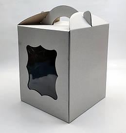 """Картонная коробка для торта """"С окном 17*17*21 см"""""""