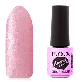 Гель-лак F. O. X. 6 мл Masha Create №917 на прозорій підкладці рожевого кольору, з голографічного слюдою, полупр