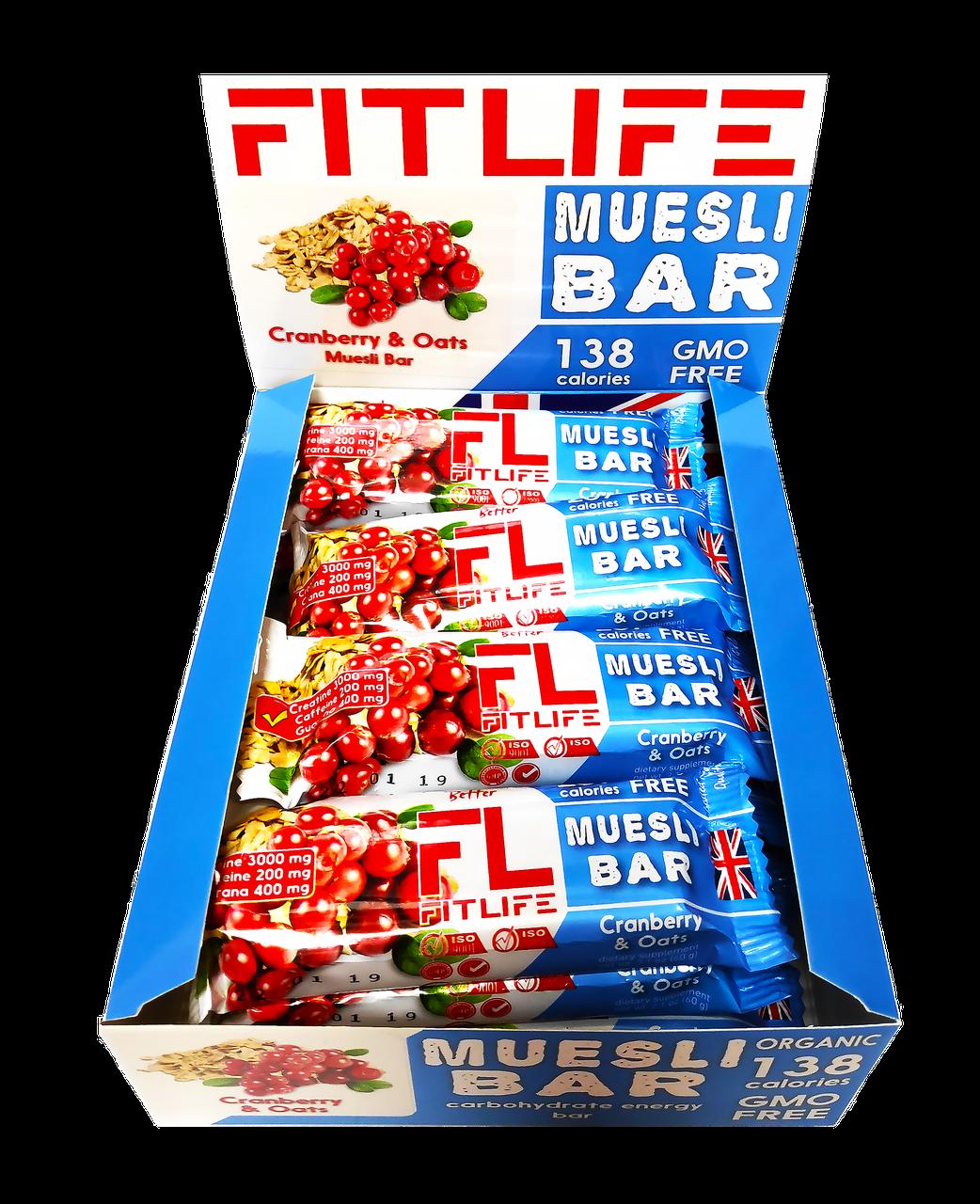 Протеїнові батончики FitLife Muesli Bar Cranberry & Oats 12х60д