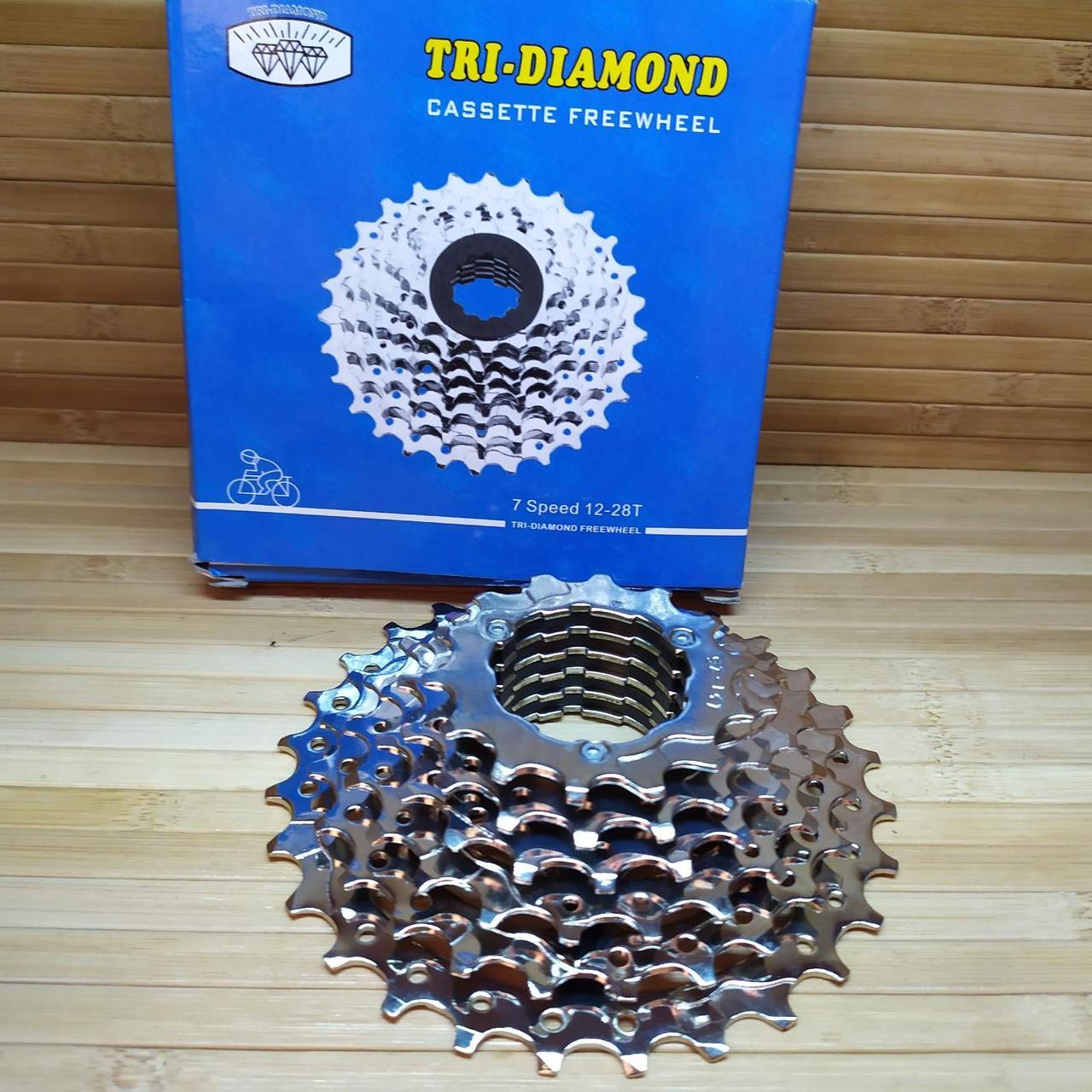 Кассета 7 звезд хромированая 12 - 28Т Tri-Diamond