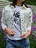 Куртка джинсовая укороченная 4004 (51),  черный,белый  42,44,46 размеров, фото 2