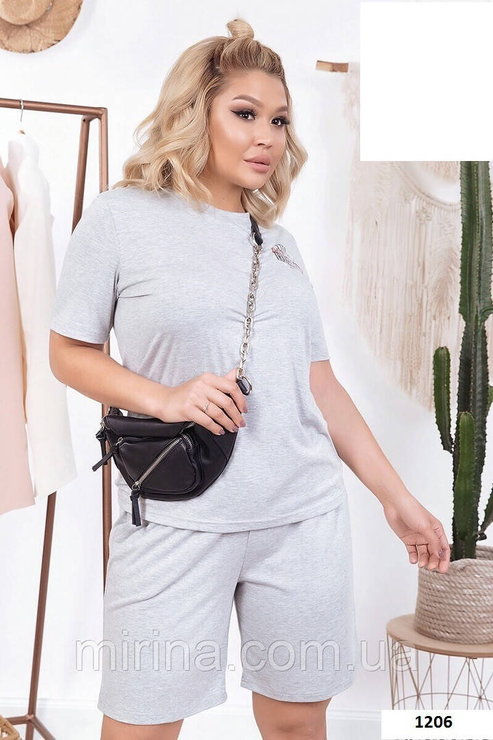 Модный женский костюм( футболка + шорты) 1206(29) батал,  серый,черный