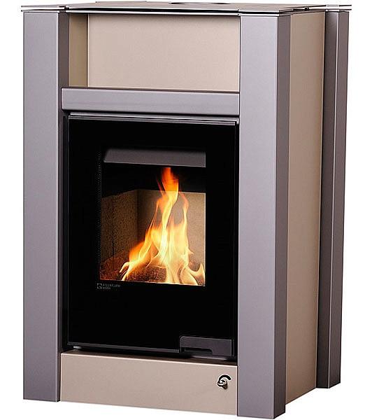 Отопительная печь-камин длительного горения AQUAFLAM VARIO LEND (кремовый металлик)