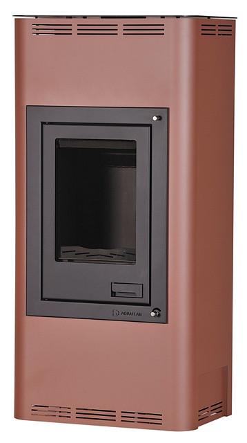 Отопительная печь-камин длительного горения AQUAFLAM 12 (водяной контур, ручная рег, бронза)