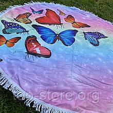 Пляжный коврик полотенце. Бабочки 150*150 см.