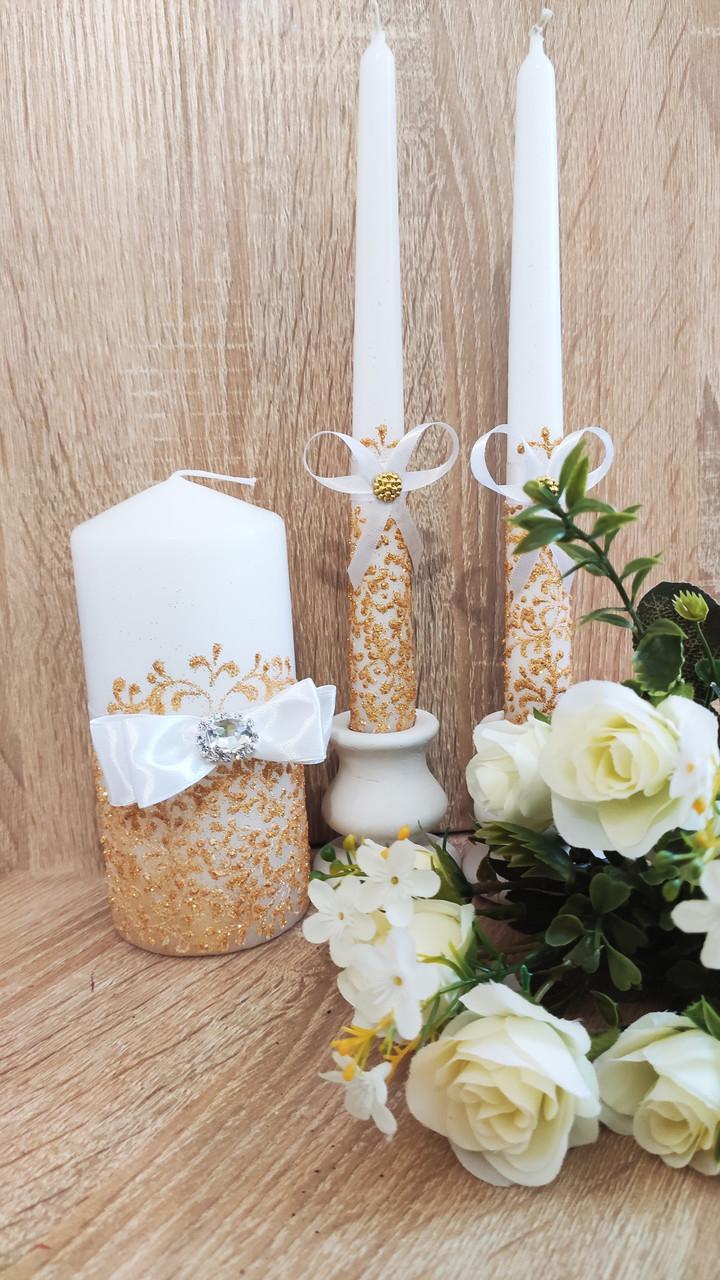 Набор свадебных свечей Diamond. Цвет золото.