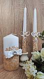 Набор свадебных свечей Diamond. Цвет золото., фото 2