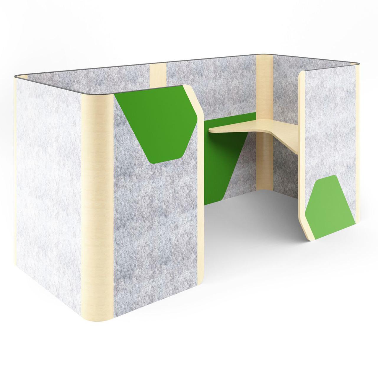 Кабина двойная Cobi фетр серый/фетр зеленый черный графит