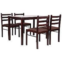 Комплект обеденный Брауни (стол+4 стула) темный шоколад/капучино