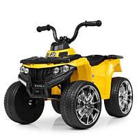 Детский квадроцикл Bambi M4137EL-6 White цвет желтый для девочки мальчика от 1 года до 4 лет