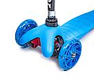 Дитячий триколісний самокат Mini Scooter (Синій) (світяться колеса) , фото 2