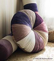 Декоративная круглая бархатная подушка, фото 1