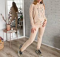 """Стильний жіночий спортивний костюм """"Дівчина"""" з турецької двухнити, кофта з капюшоном, штани на гумці(42-48)"""