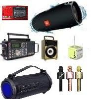 Портативные блютуз-колонки, микрофоны