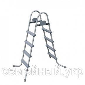 Лестница 122 см для каркасных и надувных бассейнов Материал: металл, пластик.Bestway 58336, фото 2