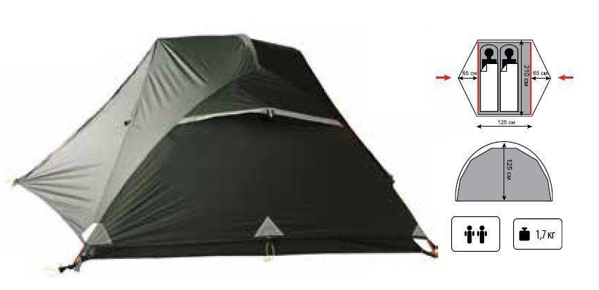 Палатка ультралегкая Tramp Cloud 2 Si TRT-092 Светло-серая (008939)