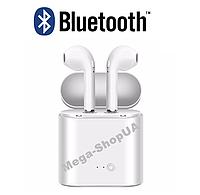 Беспроводные наушники и гарнитура Bluetooth блютуз i7 Mini для телефона смартфона Белые. Бездротові навушники
