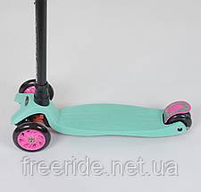 Самокат 466-113 Best Scooter MAXI, пластмассовый, 4 колеса PU, СВЕТ, трубка руля алюминиевая , d=12 см, фото 2