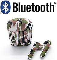 Беспроводные Bluetooth наушники i7S TWS камуфляж SD1. Бездротові навушники. Беспроводні блютуз блютус наушники