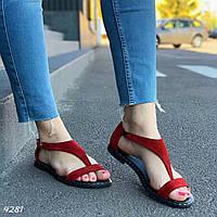 Женские босоножки красные натуральная замша, фото 1