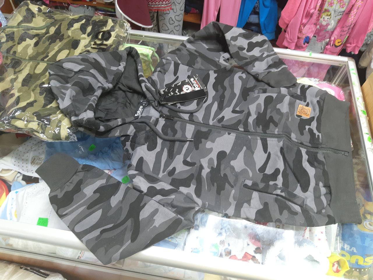 УтепленнаяТолстовка для мальчика милитари р.140 146
